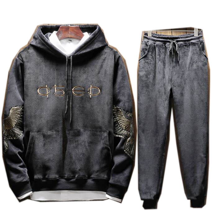Men Velour Full Hoodies Gym TrackSuit Sport Sweats Jacket Coat Bottom Top Suit Trousers Pants Embroidery Eagle Outfit