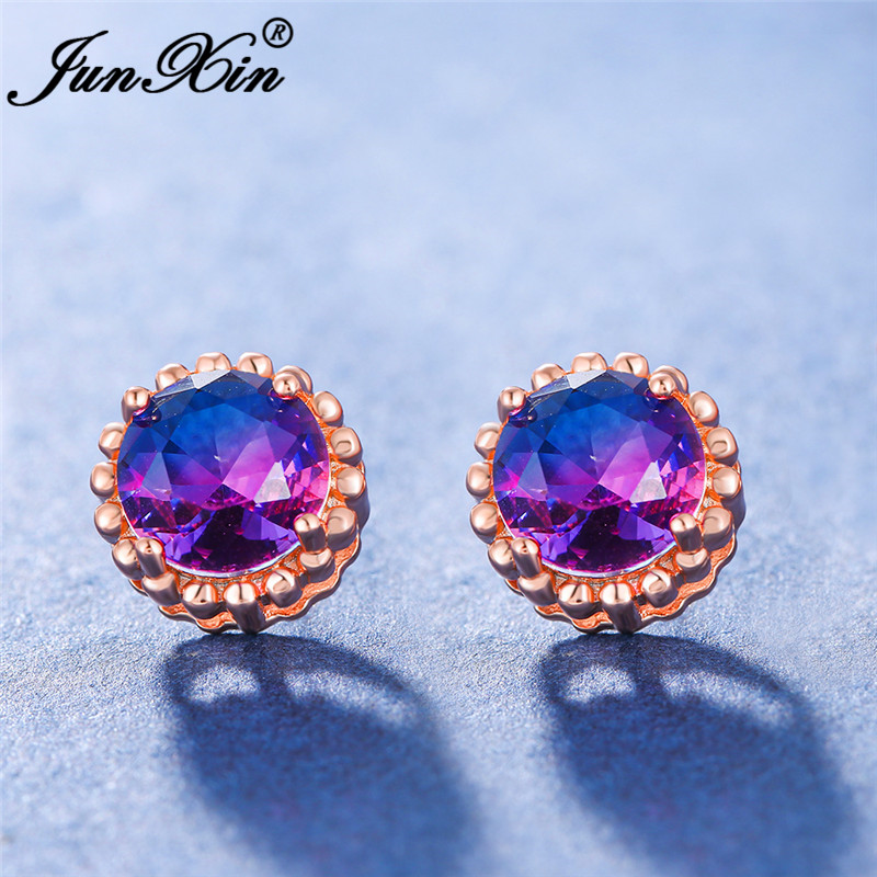 Charm Gradient Red Blue Zircon Round Earrings White Gold Rose Gold Color Rainbow Fire Crystal Wedding Stud Earrings For Women Cz