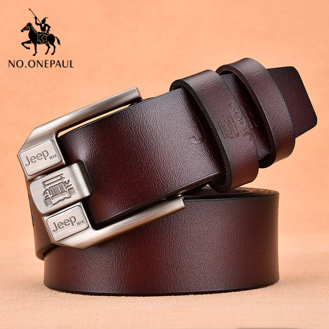 Genuine Leather High Quality Black Buckle Jeans Cowskin Casual Business Belt Cowboy waistband 1