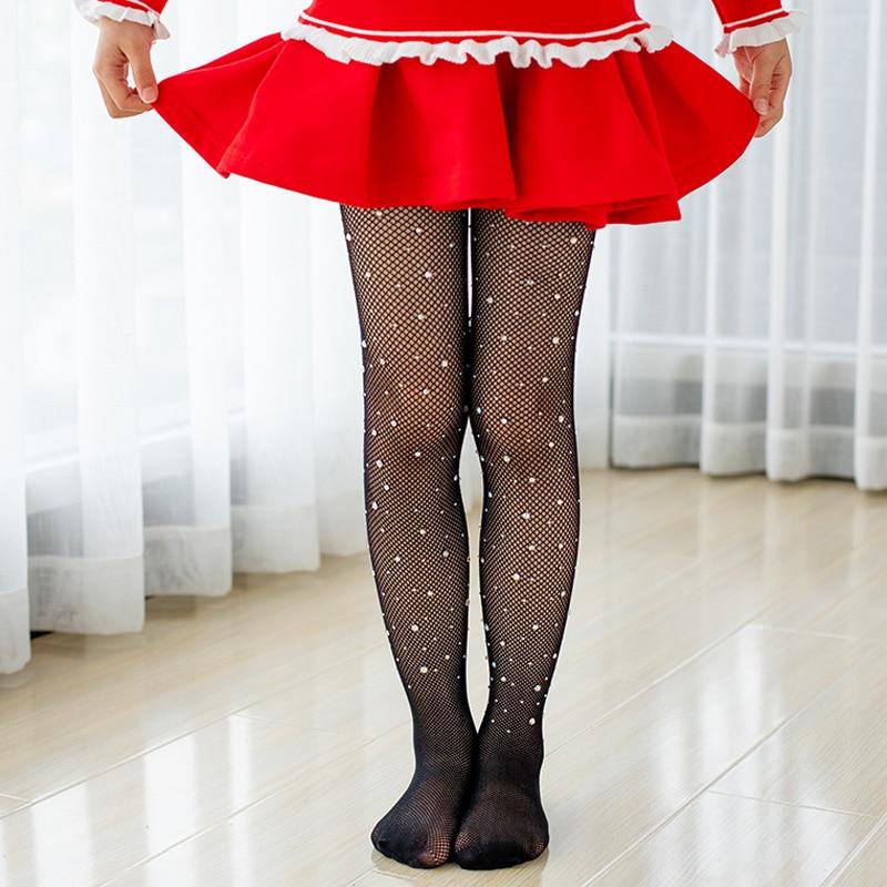 Children Tights Rhinestone Mesh Pantyhose Stockings Net Pattern Thin Pantyhose Summer Baby Tights for Girls Kids 1