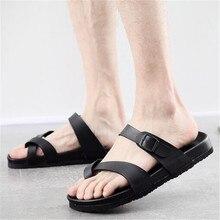 New Fashion Summer Men Flats Slippers Unisex Lovers Casual Sandals Outdoor Double buckle Solid Color Beach Slides Plus Size35-45 2016 plus size35 46 men