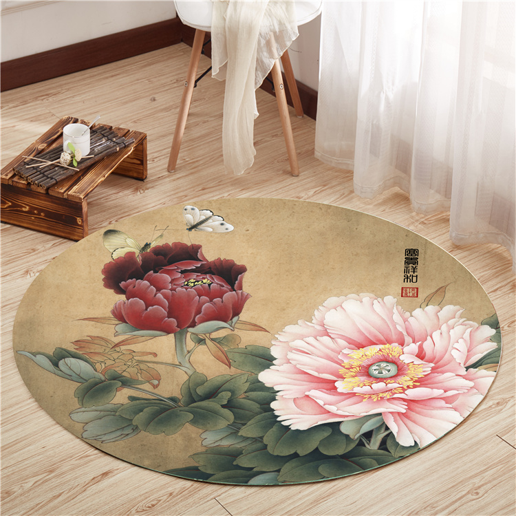 Chinese Floor Mat Round Carpet Living Room Bedroom Yoga Mat Cloakroom Retro Chinese Style Carpet Skid Washable