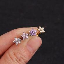 Chissen 1 pc 3 cores zircônia cúbica flor cartilagem brincos do parafuso prisioneiro hélice piercing conch rook tragus orelha piercing jóias