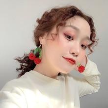 korean red Cherry earrings eardrop Sweet fruit fresh cherry female fashion  beautiful girl students for women
