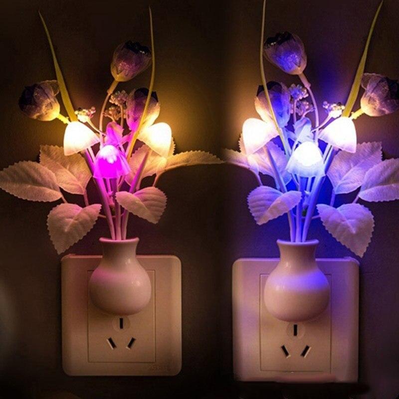 Flowers Mushroom Bedroom Decor Light Sensing LED Night Light Bed Lamp Night Lamp
