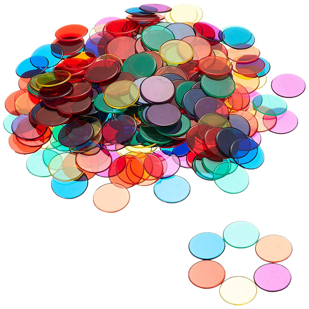 100Pcs/Bag Transparent Children Math Toys Montessori Materials Baby Learning Count Match Early Education Plastic Coin Kids Toys