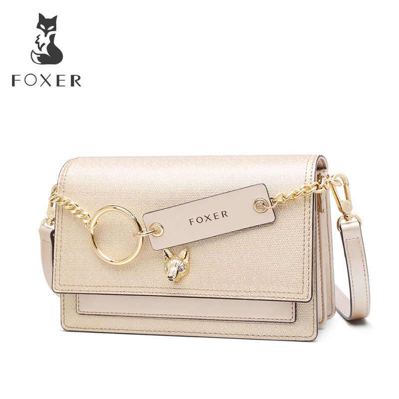 Foxer leverther divisão bolsa crossbody bolsa de ombro moda logotipo da marca mini bolsa nova e estilo exótico bolsa de ombro feminina 953068f