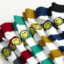 Striped Cotton Women Socks Smiling Face Embroidery Autumn Winter Female Breathable Sweet Stocking Midi Sock