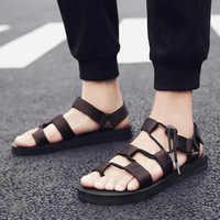 Vryheid homens sandálias 2020 verão homens preto praia sandálias de alta qualidade verão plana sandalias para hombre mais tamanho 39-45