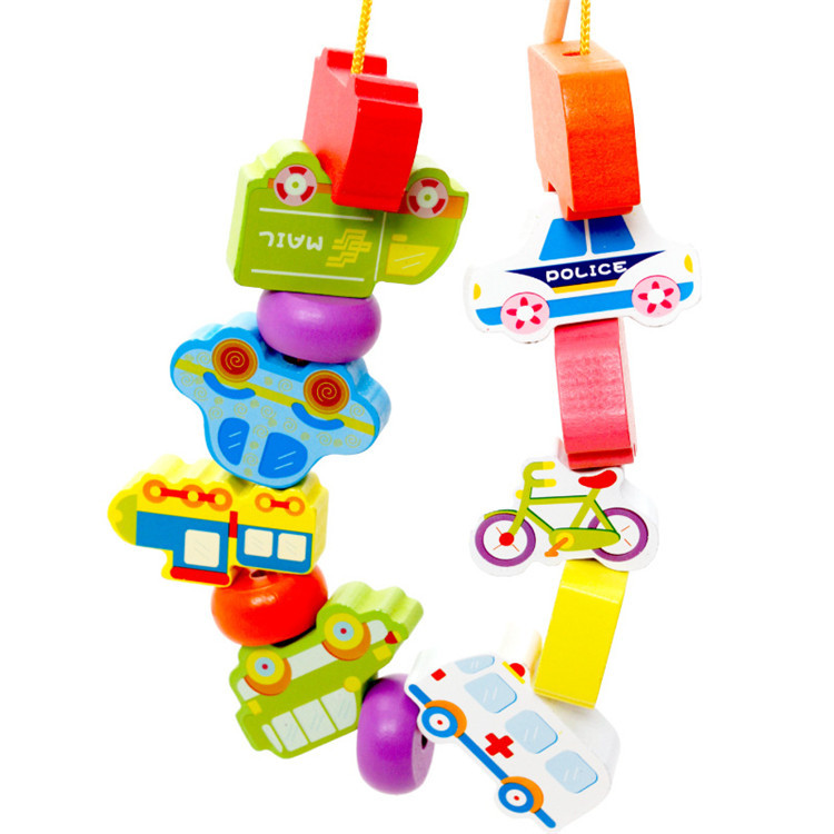 Wooden Traffic Bead Toy Children'S Educational Early Childhood With Numbers Lettered Beaded Bracelet Threading Building Blocks T