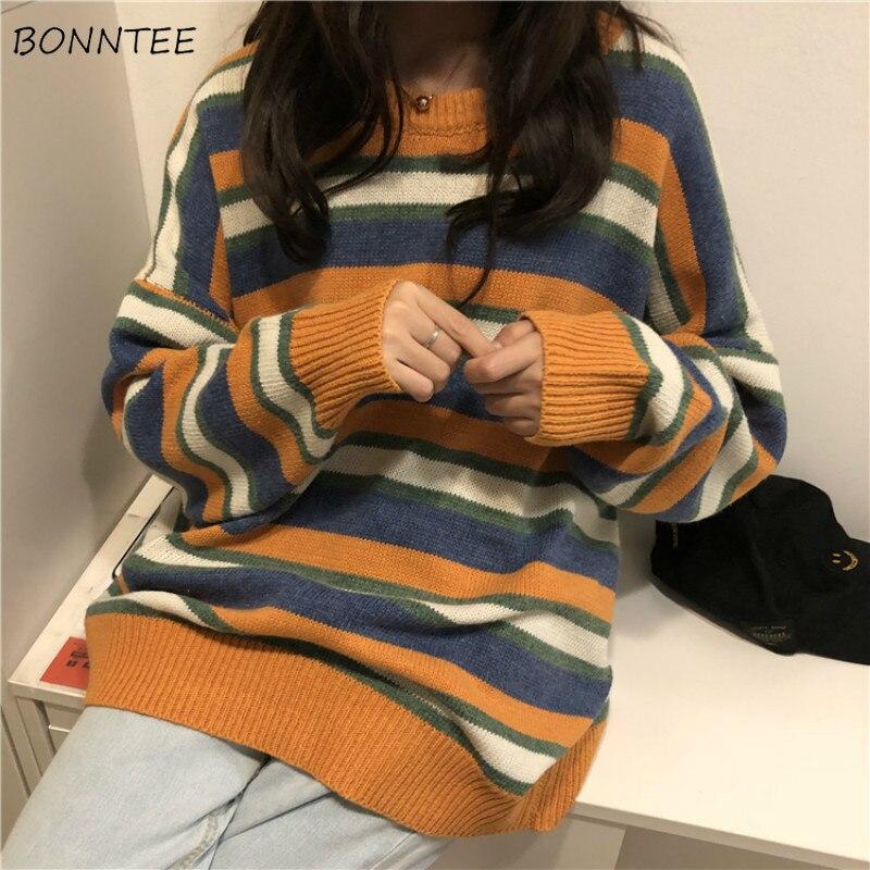 Женский трикотажный пуловер в полоску Harajuku 2020 с круглым вырезом и длинными рукавами для студентов в стиле хип хоп|Водолазки|   | АлиЭкспресс