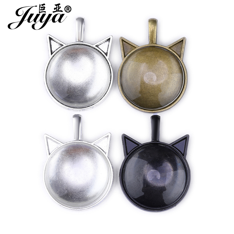 10pcs/lot Cat Ears Shape Setting Cabochon Cameo Base Tray Bezel Blank Fit 25mm Round Glass Pendant Necklace DIY Jewelry Making