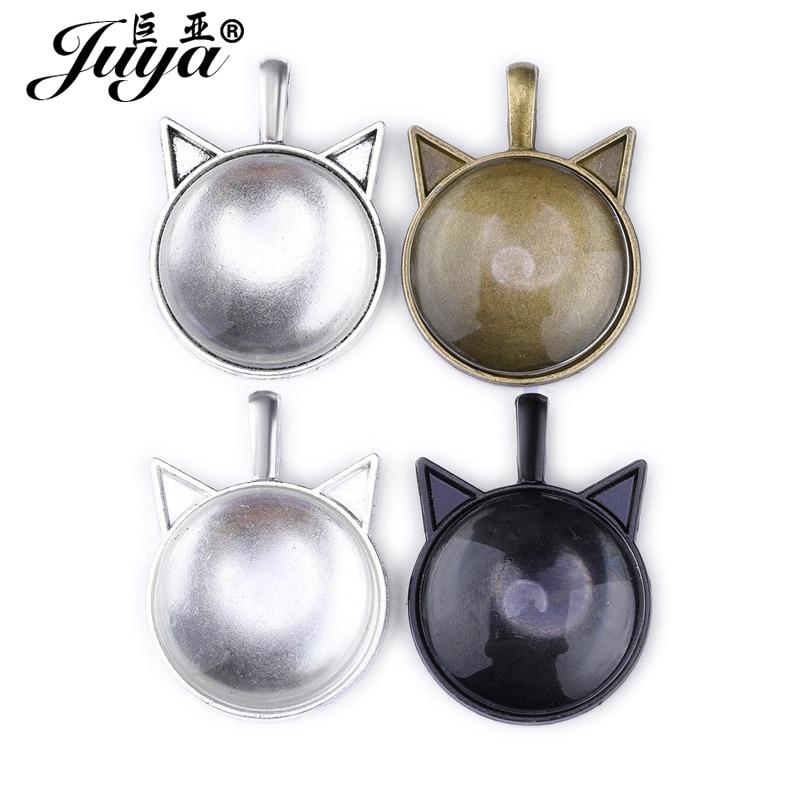 10pcs/lot Cat Ears Shape Setting Cabochon Cameo Base Tray Bezel Blank Fit 25mm Round Glass Pendant Necklace DIY Jewelry Making