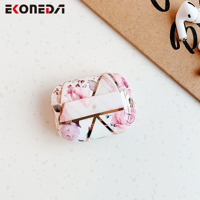 EKONEDA Electroplated Luxury Marble Case For Airpods Pro Case Silicone Soft TPU Protective Shell For Airpod Pro Case Cover