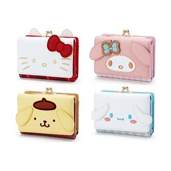 Милый маленький кошелек Kuromi, короткий кошелек для девушек и девушек, мини-складная сумка с рисунком, Женский многослойный кошелек карта Упа...