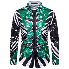 Mens Shirt Green Pattern 3 D Printed Long Sleeve Men. Men  Casual Shirts