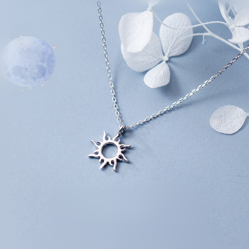Fashion 100% 925 Sterling Silver Hollow Sun Pendant Statement Link Chain Necklaces for Women Jewelry Christmas Gifts