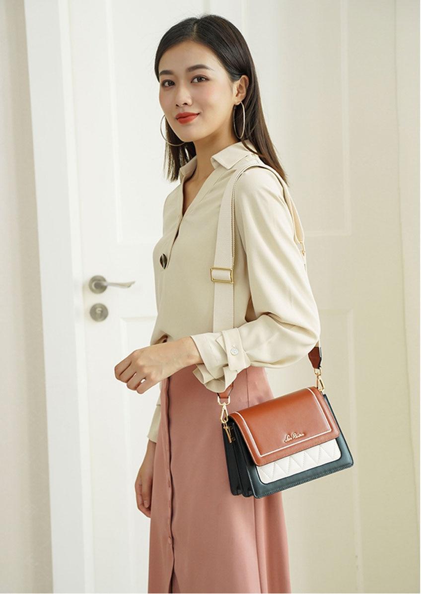 LAORENTOU women leather bag  2020 new fashion contrast color crossbody bag Wild single shoulder bag Small fresh messenger bag 5