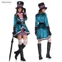 Alice in Wonderland women Cosplay Costume mad hatter adult Outfit Fancy Dress plus size Halloween party Carnival Witch Costumes