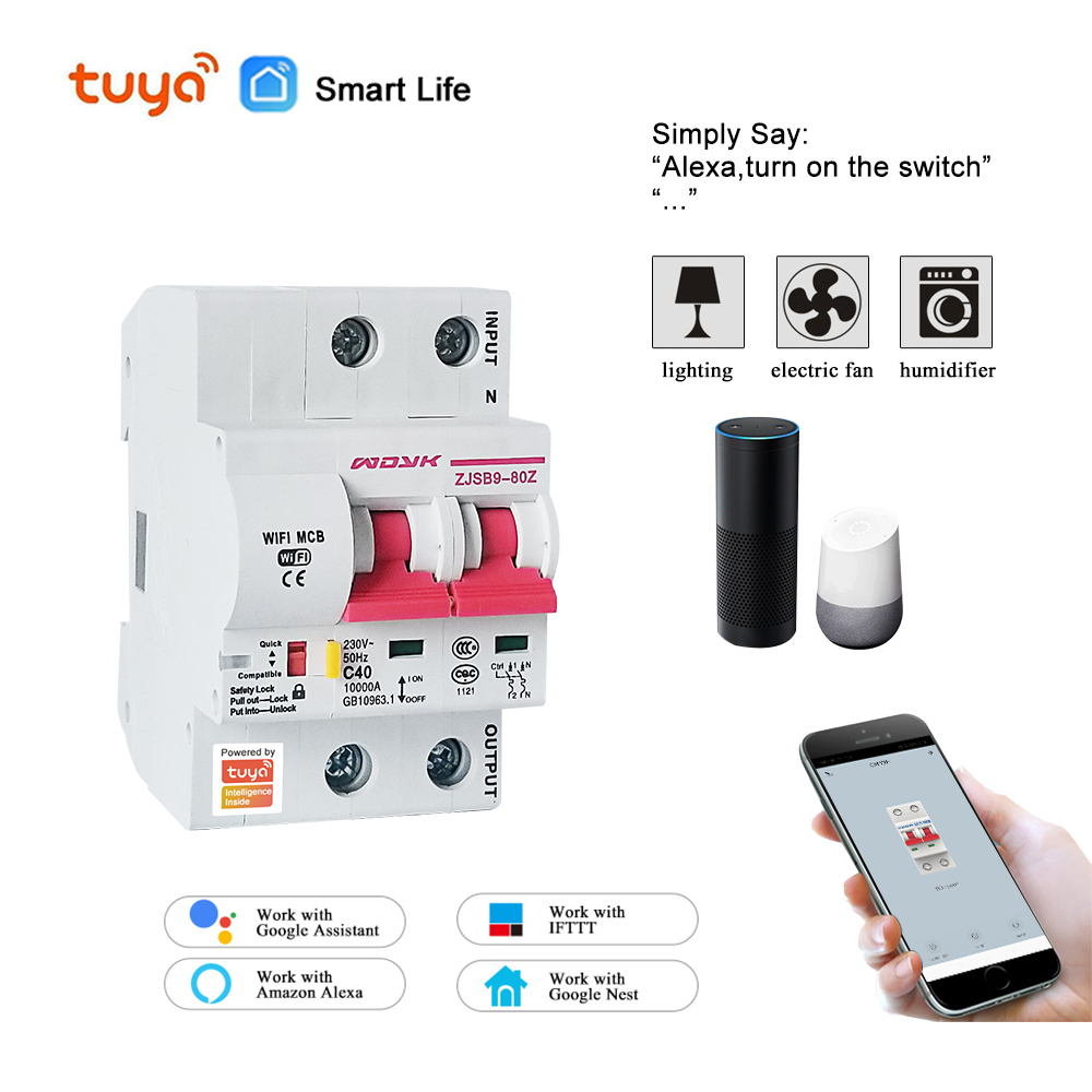 Tuya( Smart Life) 2P 40A  WiFi Smart Circuit Breaker  Overload Short Circuit Protection  Amazon Alexa Google Home For Smart Home