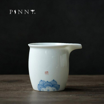 PINNY 220ML Hand Painted White Porcelain Fair Cups Hand Made  Ceramic Chahai Chinese Kung Fu Tea Set Heat Resistant Tea Cups silver blue ceramic tea cup hand painted porcelain drinkware chinese kung fu tea cup chinese gift