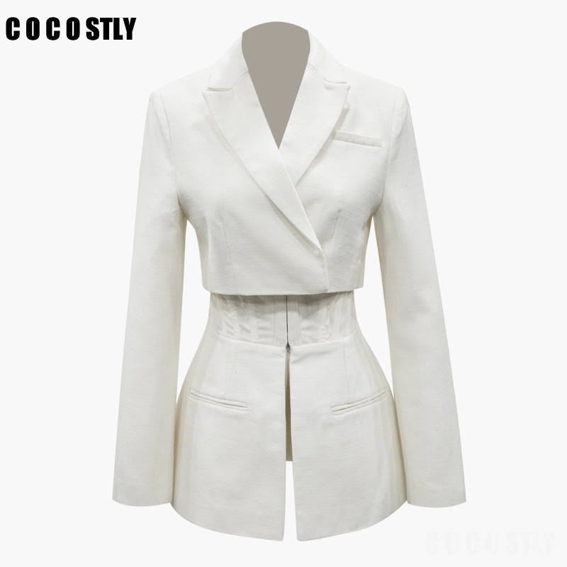 Casual White Solid Blazer For Women Lapel Long Sleeve High Waist Slim Button Female Blazer Clothes Fashion 2019 Autumn New Tide