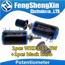 1pcs WXD3-13-2W Potenciômetro + 1pcs 1 wxd3-13 knob preto 100 200 220 470 680 K 2.2K 3.3K 4.7K 5.6K 6.8K 47 33 22 10K K K K 100K Ohm