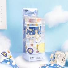 2020 sharkbang 5 pçs/caixa kawaii gilding scrapbooking washi máscara fita adesiva dercorative papel fitas de papelaria