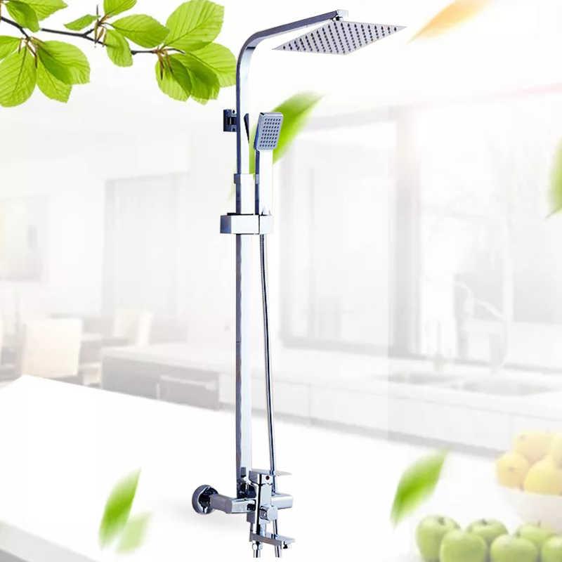 Chrome prysznic kran do łazienki zestaw do montażu na ścianie 8''Rainfall głowica prysznicowa ABS prysznic ręczny obrotowe wanna wylewka 3-sposoby Mixer Tap