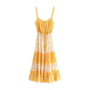 Image 2 - Vintage Chicผู้หญิงดอกไม้พิมพ์ชายหาดโบฮีเมียนStrapless Midiชุดสุภาพสตรีฤดูร้อนเรยอนBoho Vestidos