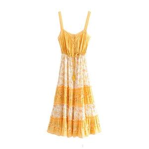 Image 2 - Vintage chic women floral print sleeveless beach Bohemian tassel  Strapless midi dress Ladies Summer rayon Boho dress vestidos