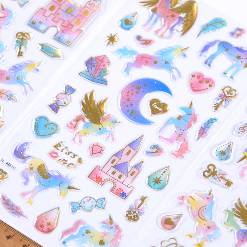 Dropstick Dream Unicorn Pegasus Crystal Gilding Decorative Stationery Stickers Scrapbooking DIY Diary Album Stick Label