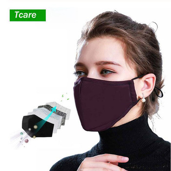 *Cotton Black mouth Mask add Activated carbon filter Mouth-muffle Face masks Care face cover