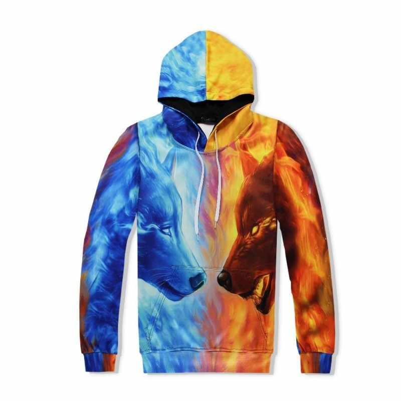 패션 남자 3D 늑대 인쇄 힙합 캐주얼 Hoody 운동복 2pcs 세트 색상 혼합 조깅 Tracksuit Survetement Homme Streetwear