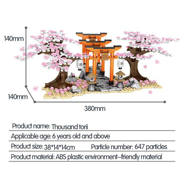 SEMBO City Street View Idea Sakura Inari Shrine Bricks Friends Cherry Blossom Technic Creator House Tree Building Blocks Toys