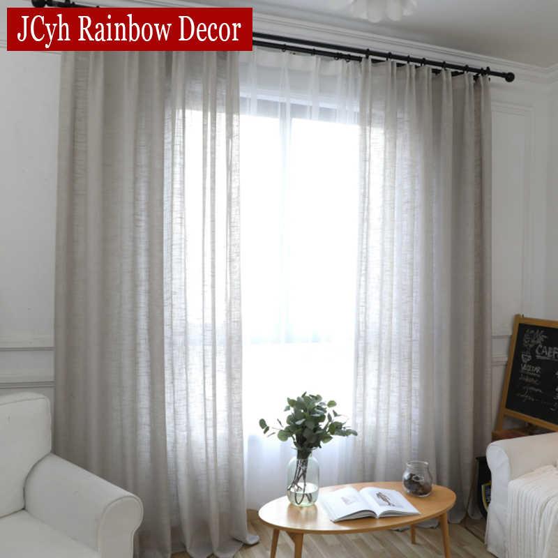 rideau en lin tulle gris epais pour salon chambre a coucher rideaux modernes semi transparents traitements de fenetre voile solide
