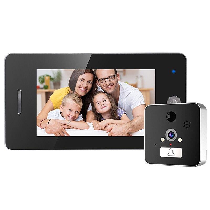 ABKT-4.3 Inch Screen Wireless Doorbell Ip Camera 960P 120 Degree Peephole With App Control Night-Vision Pir Motion Sensor