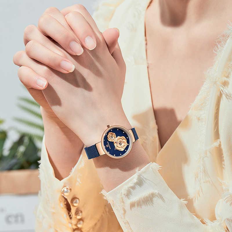 NAVIFORCE النساء مشاهدة العلامة التجارية الأعلى ارتفع الذهب الأزرق الكوارتز السيدات الساعات شبكة معدنية مقاوم للماء ساعة اليد لفتاة Relogio Feminino