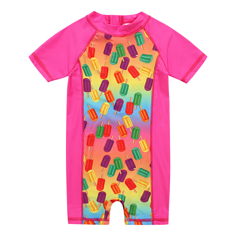 Popsicle CHILDREN'S Short-sleeved Clothes Tour Bathing Suit Girls Warm Bathing Suit Children Anti-UV Surf Wear A Generation Of F