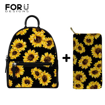 FORUDESIGNS Sunflower Printing Mini Backpack Women PU Leather Shoulder Bag for Teenage Girls Kids Multi-Function Small Bagpack mini backpack women pu leather shoulder bag for teenage girls kids multi function small bagpack female ladies school backpack