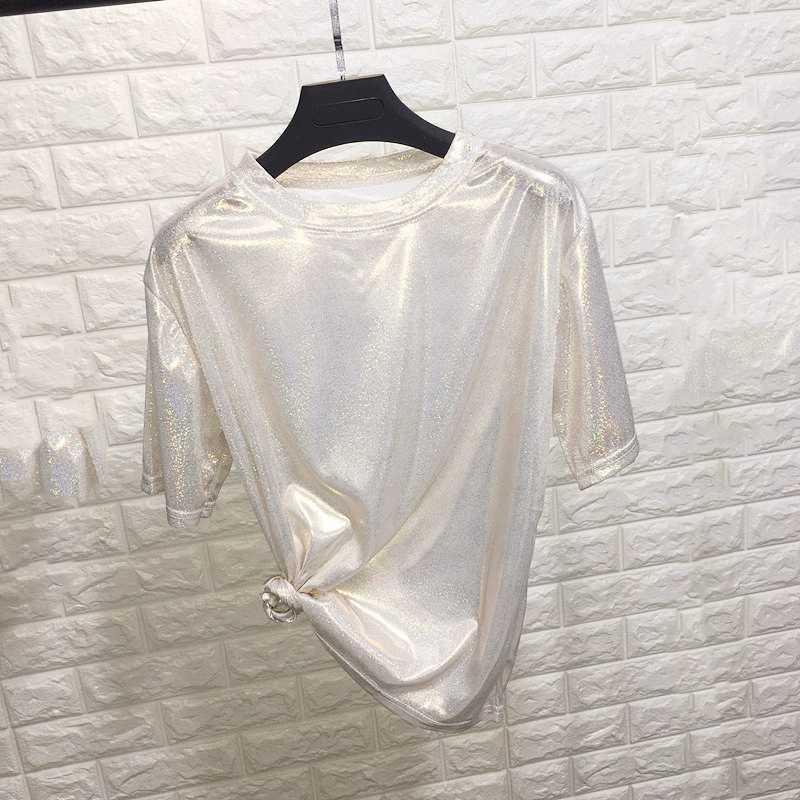 New summer retro style stylish bright silk woman tops shiny loose short sleeve t-shirt sexy club aesthetic harajuku women tshirt Women Women's Clothings Women's Dresses