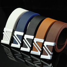 New Men Leather Belt Luxury Strap Male W