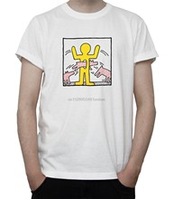 KEITH HARING Untitled Artwork T-SHIRT Street ART Yellow FIGURE Dogs GREY White(China)
