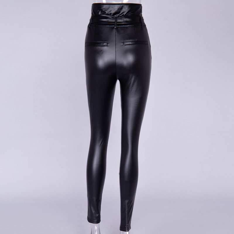 InstaHot Gold Black Belt High Waist Pencil Pant Women Faux Leather PU Sashes Long Trousers Casual Sexy Exclusive Design Fashion 27