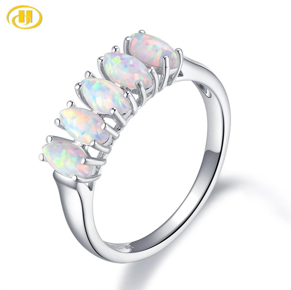 Hutang Nano Opal Women's Ring Solid 925 Sterling Silver White Gemstone Engagement Rings Fine Elegant Classic Jewelry for Gift