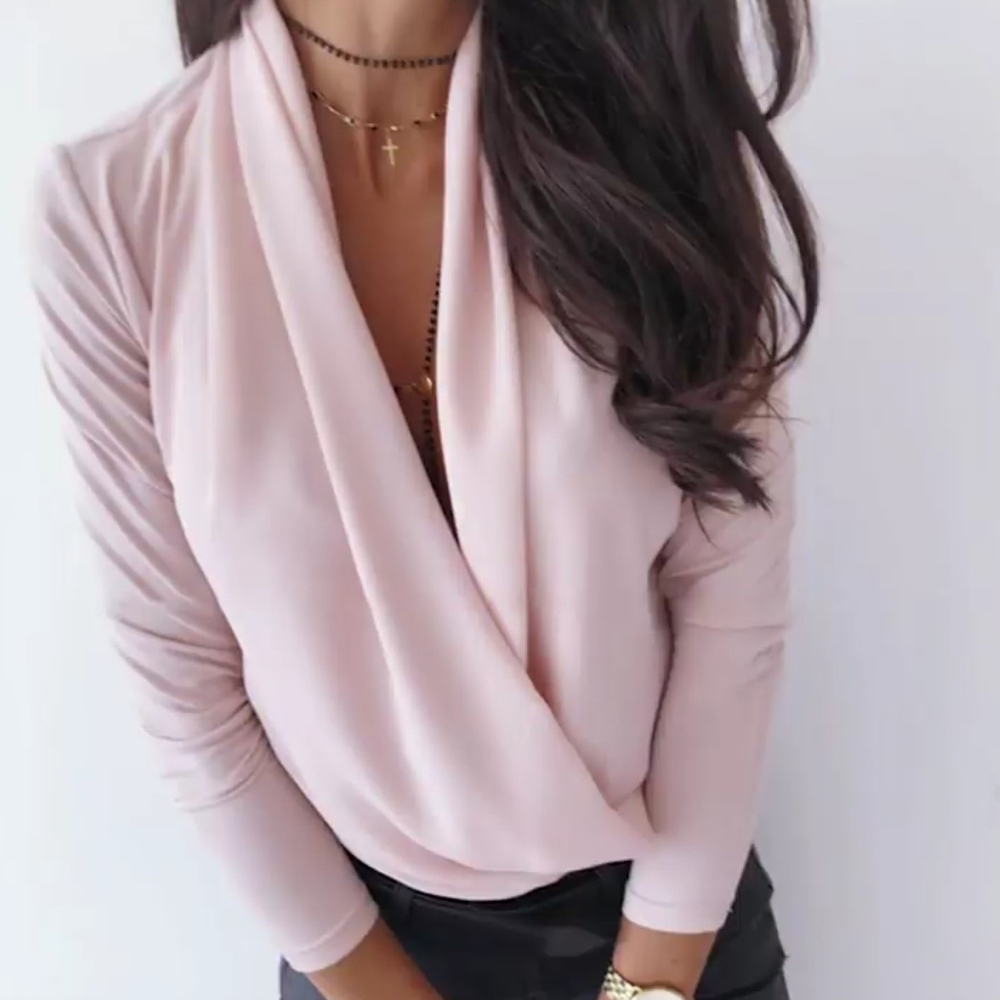 deep v neck blouse