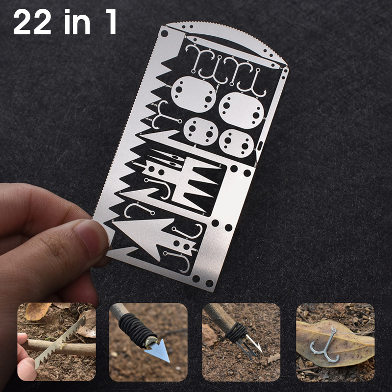 22 In 1 Camping Survival Card Pocket Multitool Camping Survival Card Knife Tactical Hunting Utility Knife Hand Tools