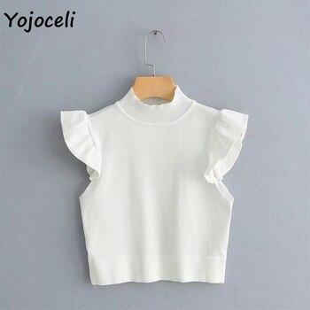 Yojoceli pretty ruffle knits women sleeveless sweater jumper pullovers female sweater 10