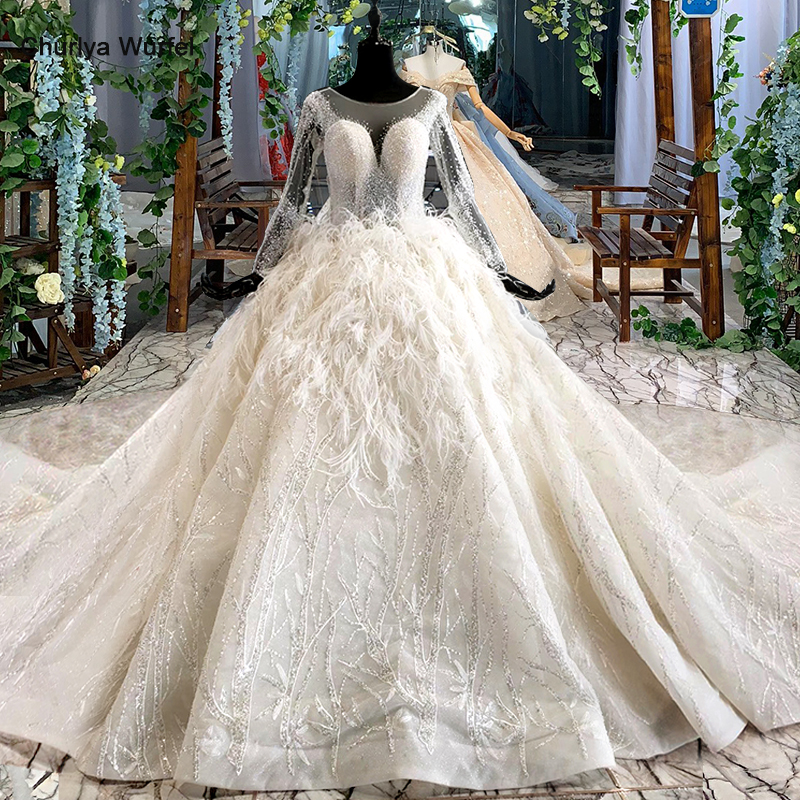 HTL987 Long Sleeve Modest Wedding Dress With Feather O Neck Illusion Back African Wedding Gowns New Vestido De Noiva Manga Longa