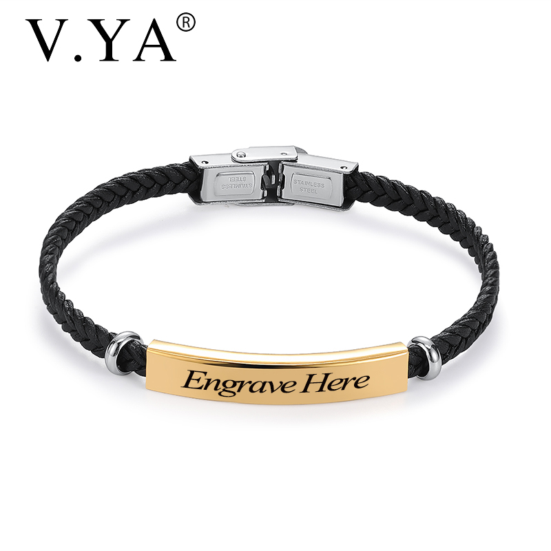 V.YA Personalized Jewelry Stainless Steel Bracelets For Women Men  Fashion Custom Logo Name Leather Bangle Accessories Christmas